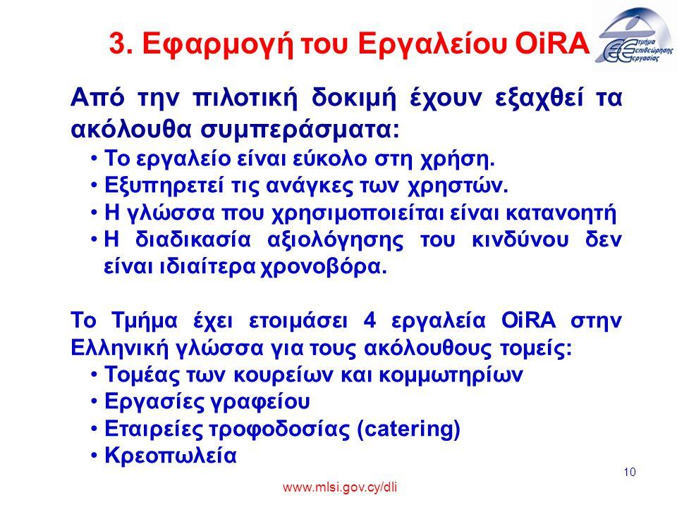 3. Εφαρμογή του Εργαλείου OiRA