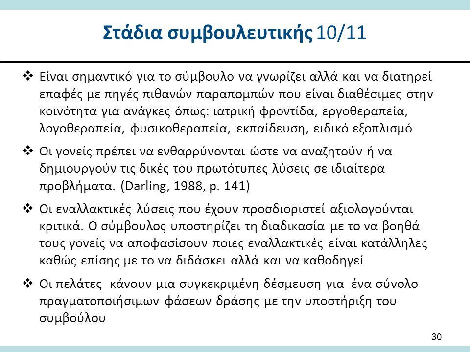 Στάδια συμβουλευτικής 10/11