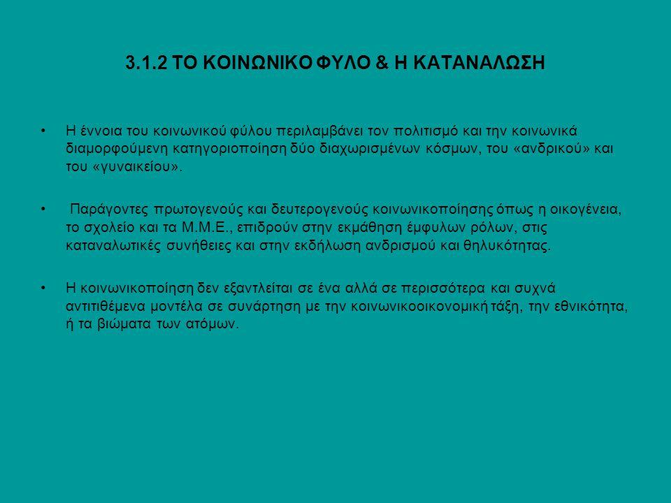 3.1.2 ΤΟ ΚΟΙΝΩΝΙΚΟ ΦΥΛΟ & Η ΚΑΤΑΝΑΛΩΣΗ