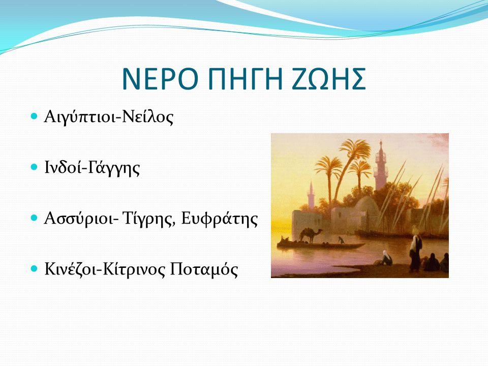 ΝΕΡΟ ΠΗΓΗ ΖΩΗΣ Αιγύπτιοι-Νείλος Ινδοί-Γάγγης