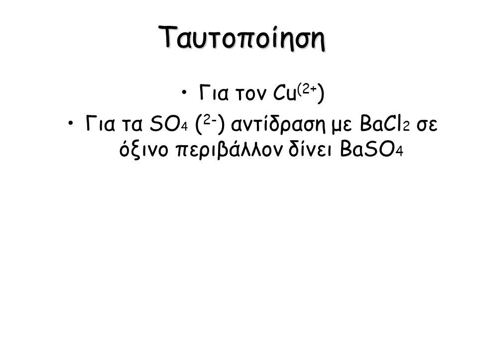 Για τα SO4 (2-) αντίδραση με BaCl2 σε όξινο περιβάλλον δίνει BaSO4