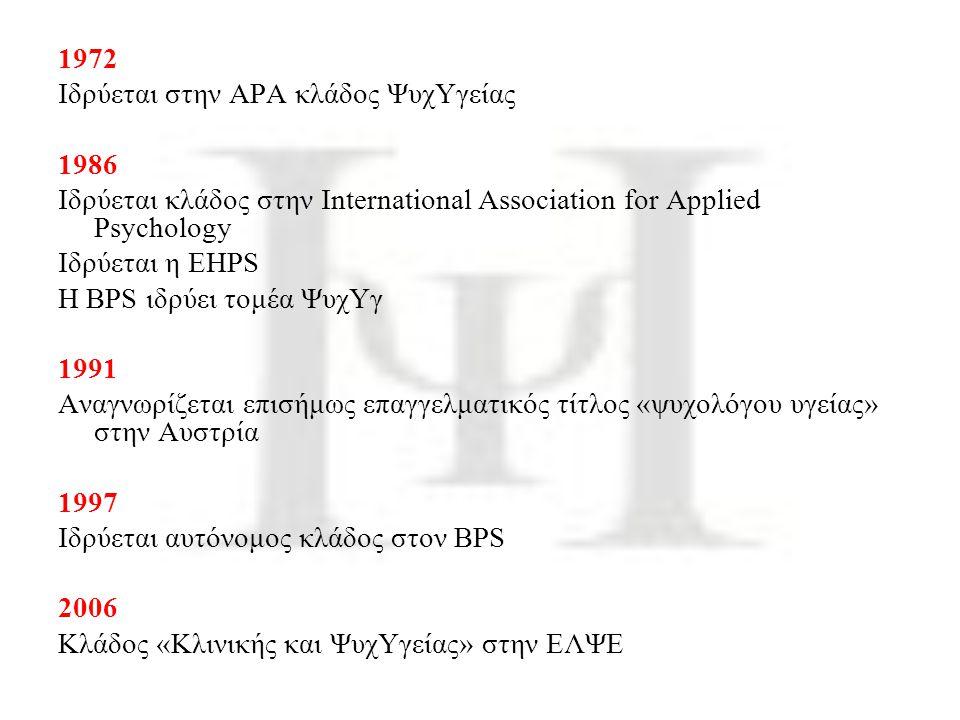 1972 Ιδρύεται στην ΑΡΑ κλάδος ΨυχΥγείας. 1986. Ιδρύεται κλάδος στην International Association for Applied Psychology.