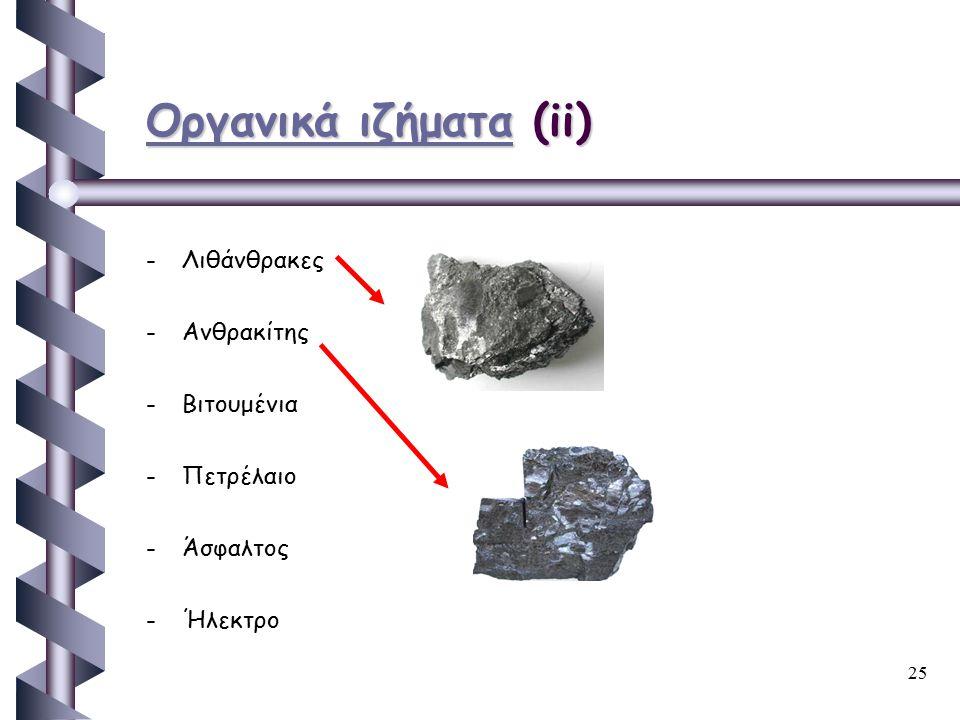Οργανικά ιζήματα (ii) Λιθάνθρακες Ανθρακίτης Βιτουμένια Πετρέλαιο