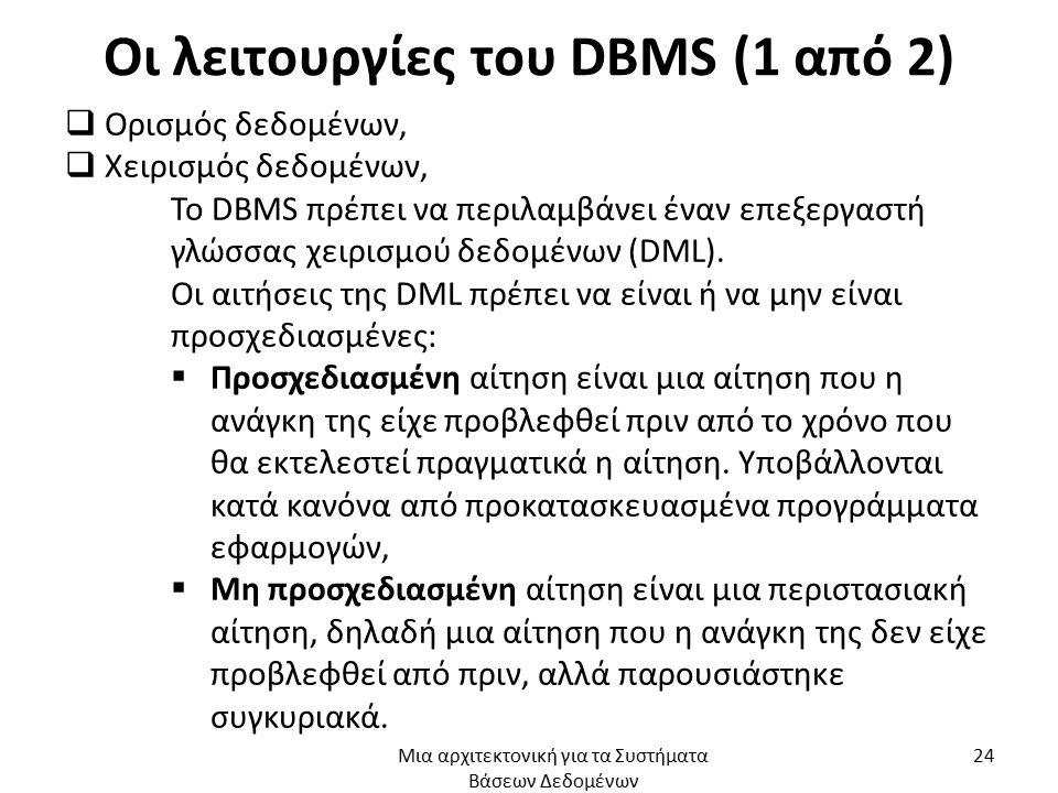 Οι λειτουργίες του DBMS (1 από 2)