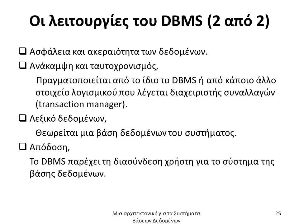 Οι λειτουργίες του DBMS (2 από 2)