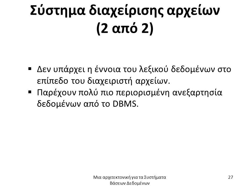 Σύστημα διαχείρισης αρχείων (2 από 2)