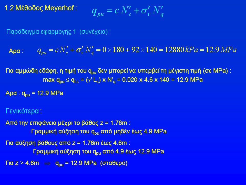 max qpu  qLc = (' Lc) x Ν'q = 0.020 x 4.6 x 140 = 12.9 MΡa