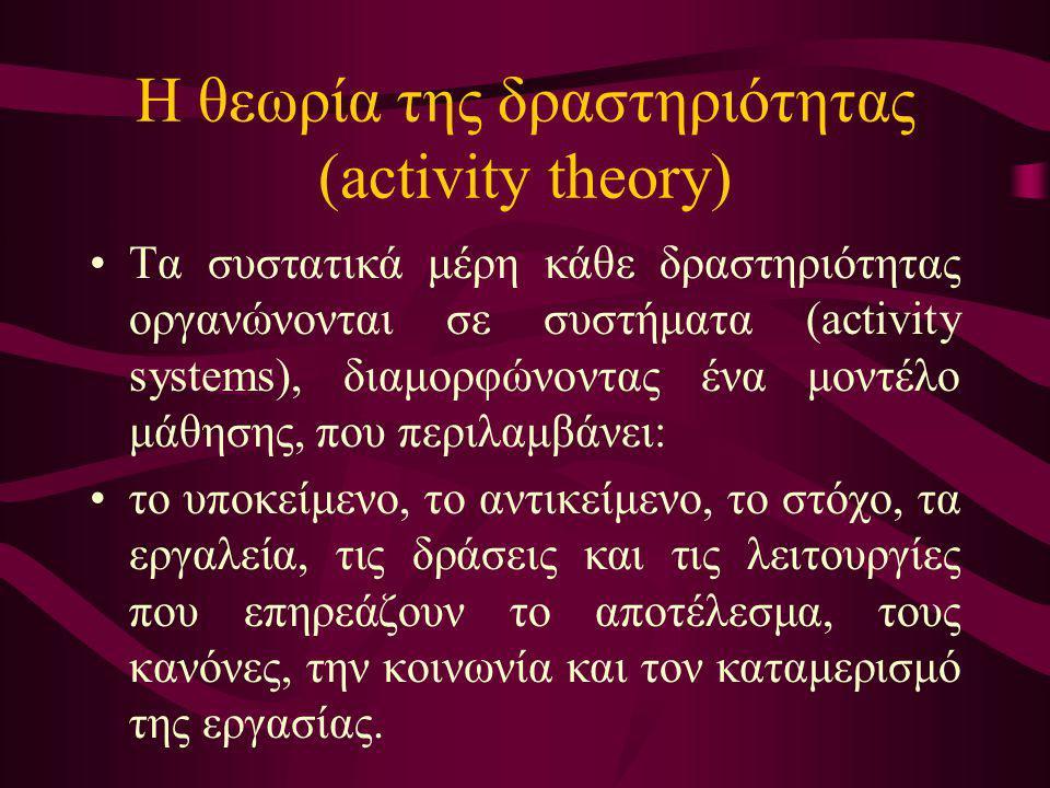Η θεωρία της δραστηριότητας (activity theory)