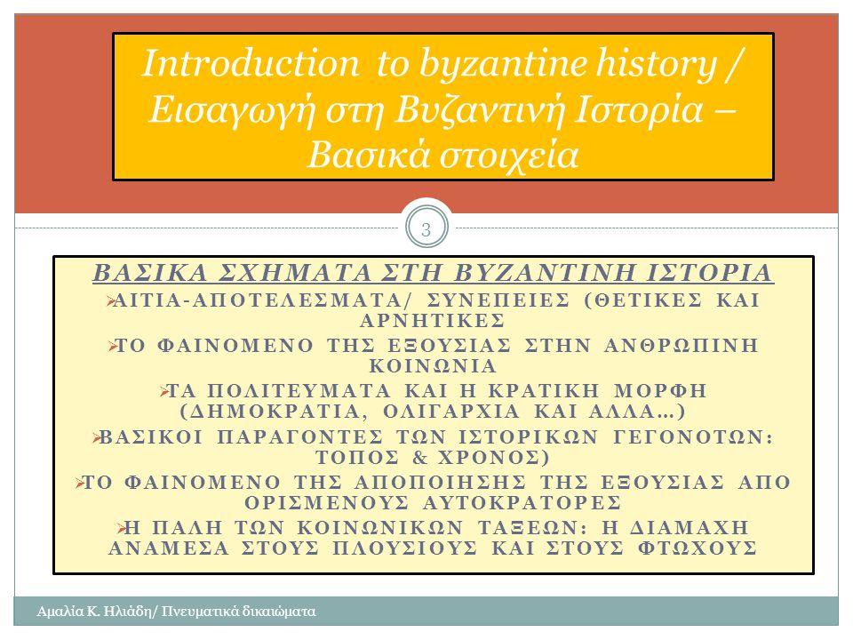 Introduction to byzantine history / Εισαγωγή στη Βυζαντινή Ιστορία – Βασικά στοιχεία