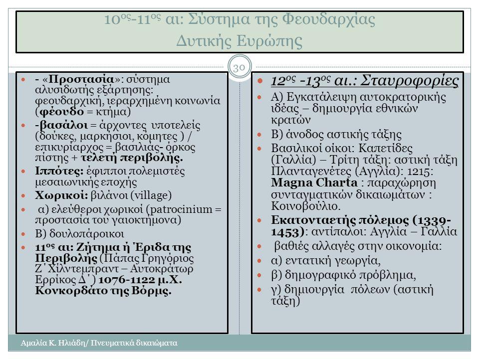 10ος-11ος αι: Σύστημα της Φεουδαρχίας Δυτικής Ευρώπης