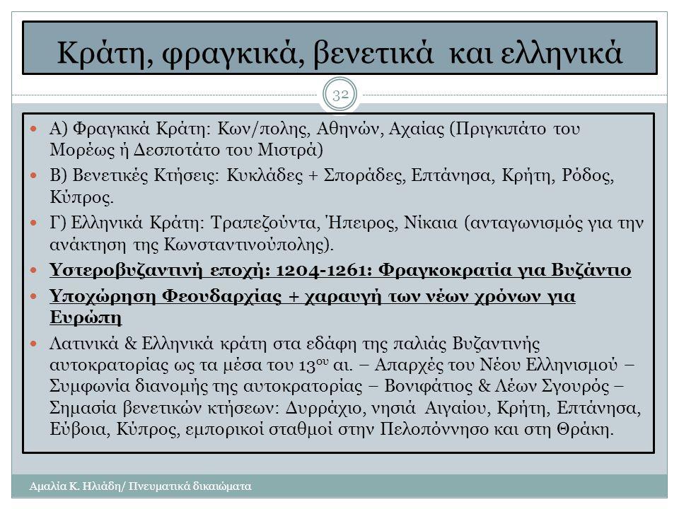 Κράτη, φραγκικά, βενετικά και ελληνικά