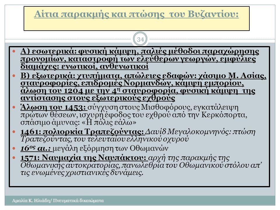 Αίτια παρακμής και πτώσης του Βυζαντίου: