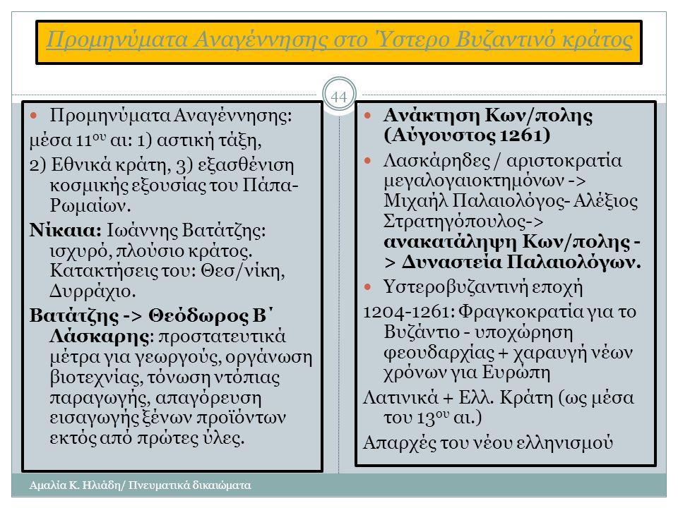 Προμηνύματα Αναγέννησης στο Ύστερο Βυζαντινό κράτος
