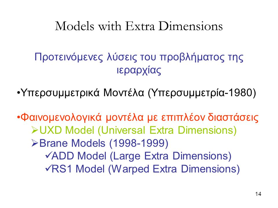 Models with Extra Dimensions