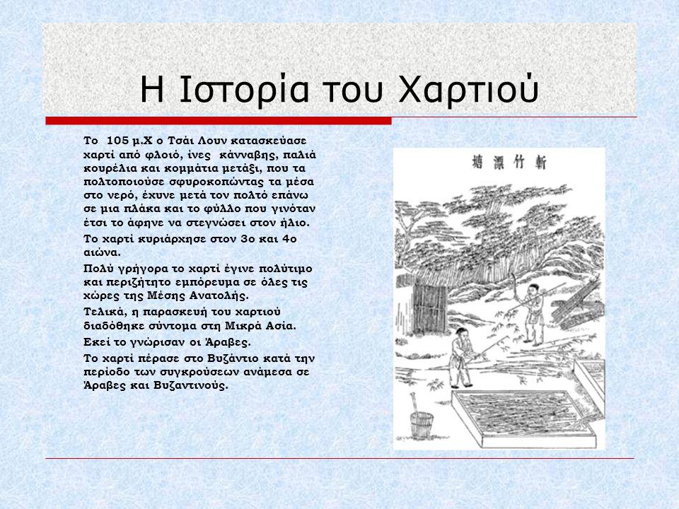 Η Ιστορία του Χαρτιού Το χαρτί κυριάρχησε στον 3ο και 4ο αιώνα.