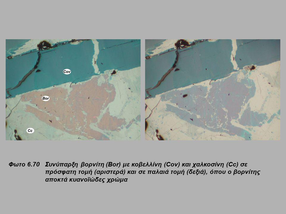 Φωτο 6.70 Συνύπαρξη βορνίτη (Bor) με κοβελλίνη (Cov) και χαλκοσίνη (Cc) σε πρόσφατη τομή (αριστερά) και σε παλαιά τομή (δεξιά), όπου ο βορνίτης αποκτά κυανοϊώδες χρώμα