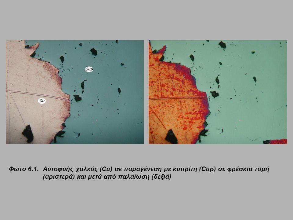 Φωτο 6.1. Αυτοφυής χαλκός (Cu) σε παραγένεση με κυπρίτη (Cup) σε φρέσκια τομή (αριστερά) και μετά από παλαίωση (δεξιά)