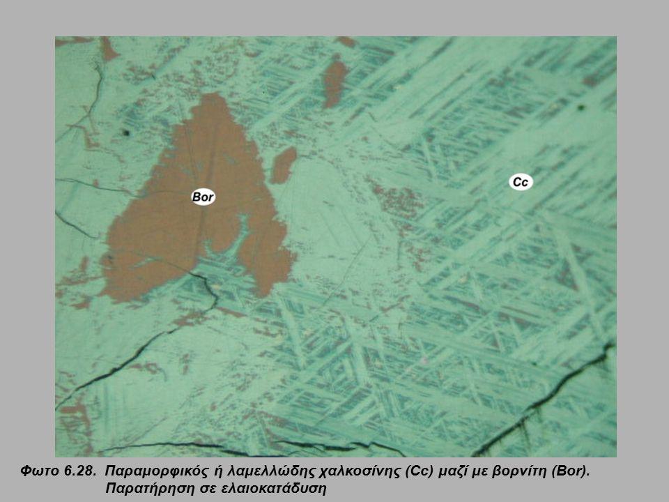 Φωτο 6.28. Παραμορφικός ή λαμελλώδης χαλκοσίνης (Cc) μαζί με βορνίτη (Bor).