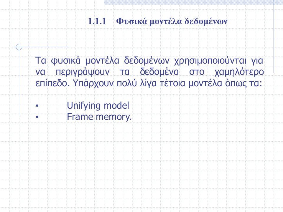 1.1.1 Φυσικά μοντέλα δεδομένων