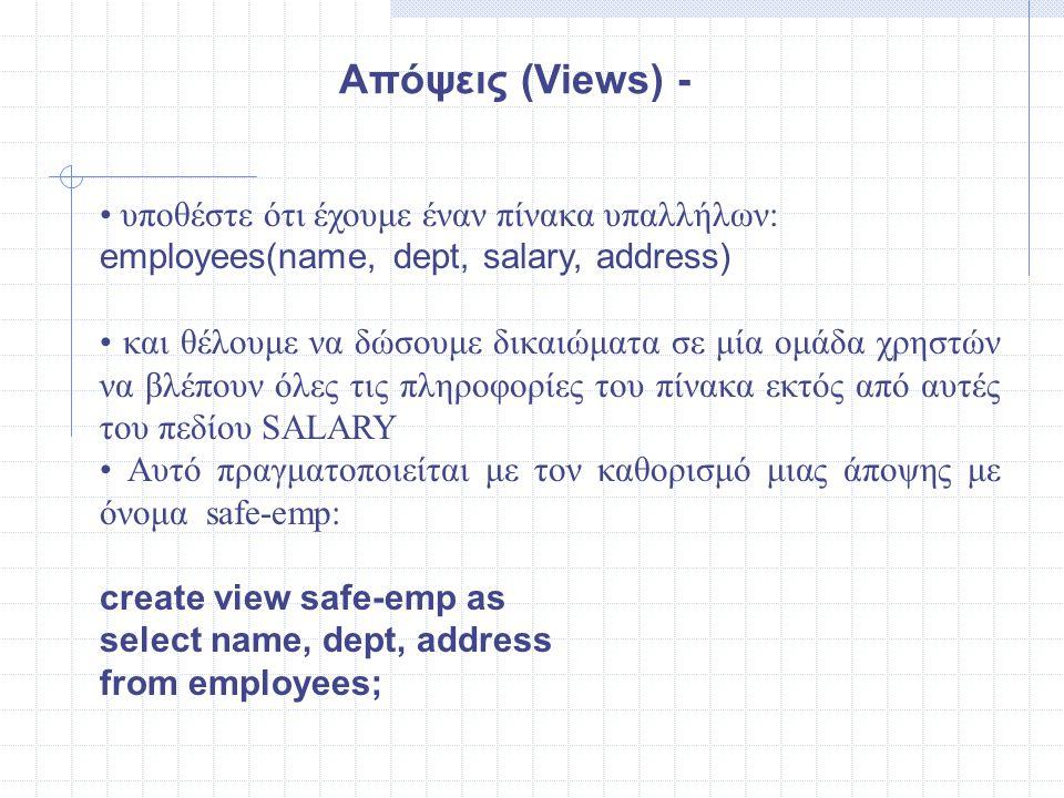 Απόψεις (Views) - • υποθέστε ότι έχουμε έναν πίνακα υπαλλήλων: