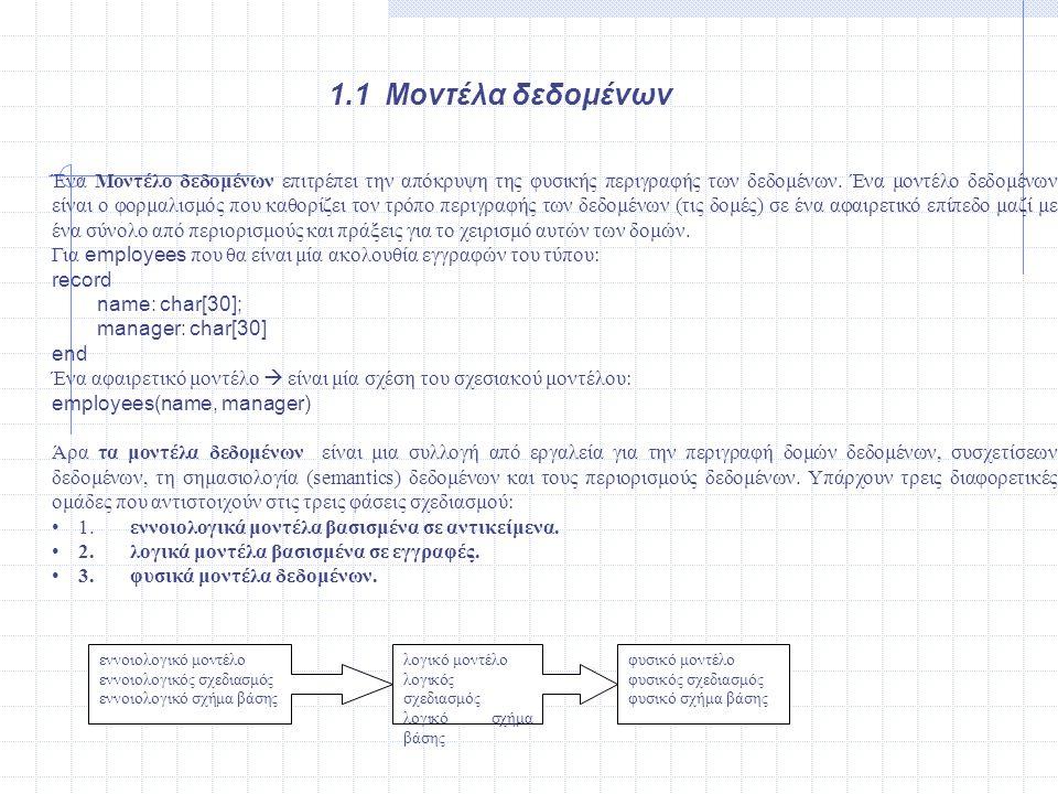 1.1 Μοντέλα δεδομένων