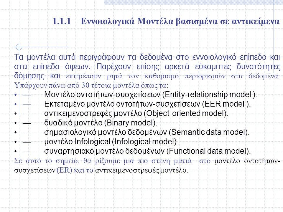 1.1.1 Εννοιολογικά Μοντέλα βασισμένα σε αντικείμενα