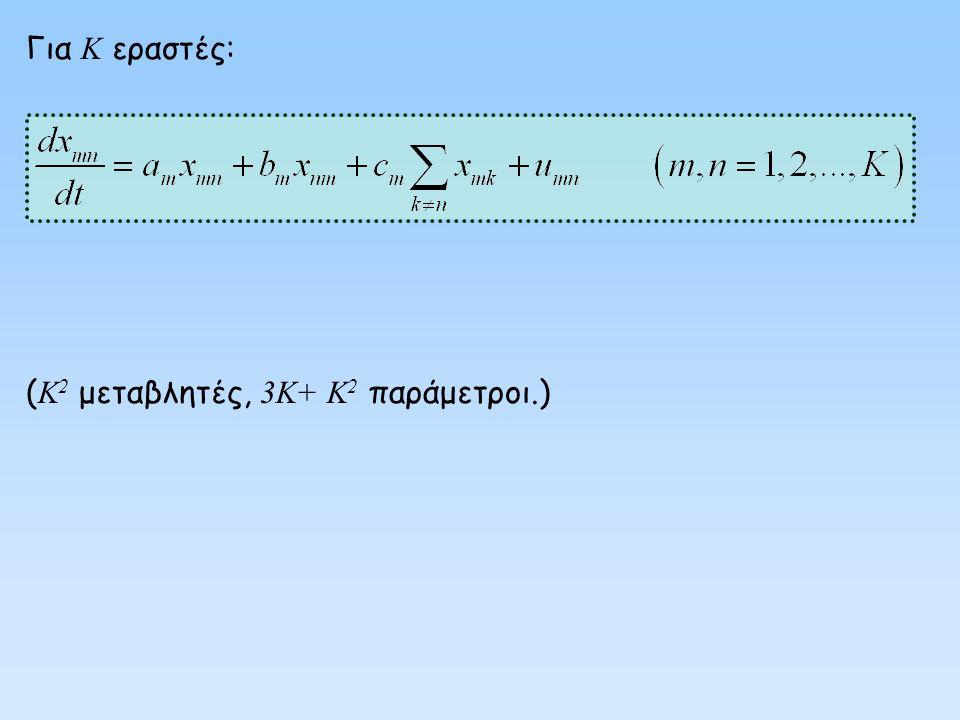 Για Κ εραστές: (Κ2 μεταβλητές, 3Κ+ Κ2 παράμετροι.)