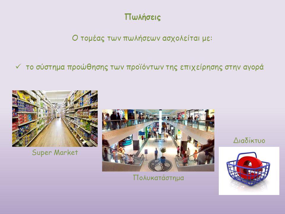 Ο τομέας των πωλήσεων ασχολείται με: