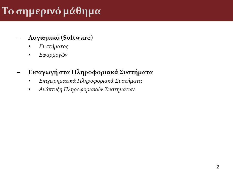Το σημερινό μάθημα Λογισμικό (Software)