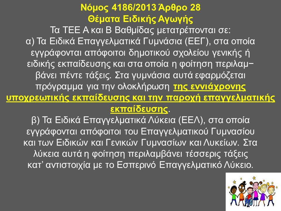Νόμος 4186/2013 Άρθρο 28 Θέματα Ειδικής Αγωγής
