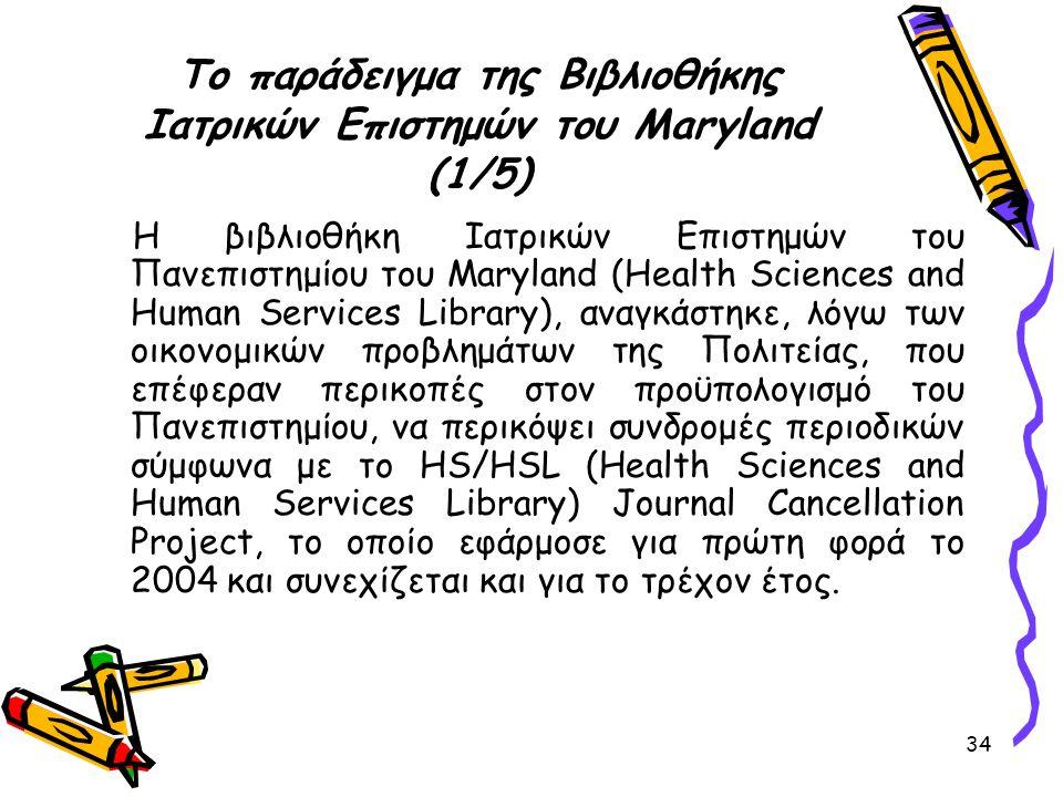 Το παράδειγμα της Βιβλιοθήκης Ιατρικών Επιστημών του Maryland (1/5)