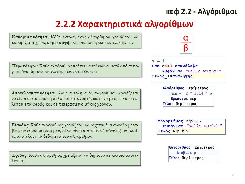 2.2.2 Χαρακτηριστικά αλγορίθμων