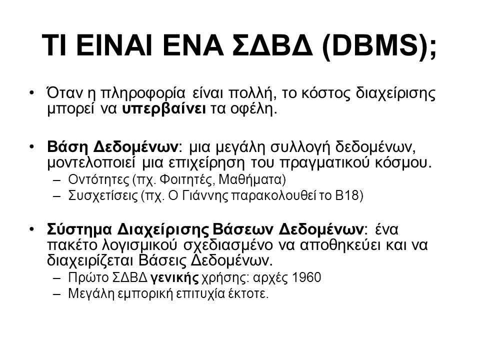 ΤΙ ΕΙΝΑΙ ΕΝΑ ΣΔΒΔ (DBMS);