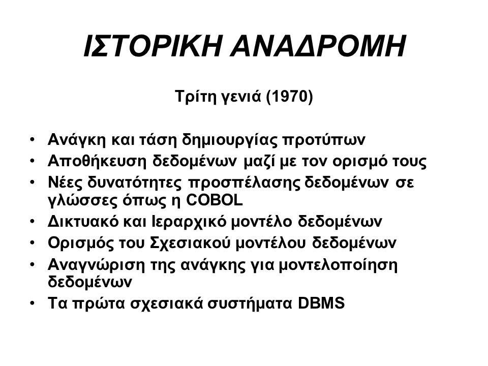 ΙΣΤΟΡΙΚΗ ΑΝΑΔΡΟΜΗ Τρίτη γενιά (1970)