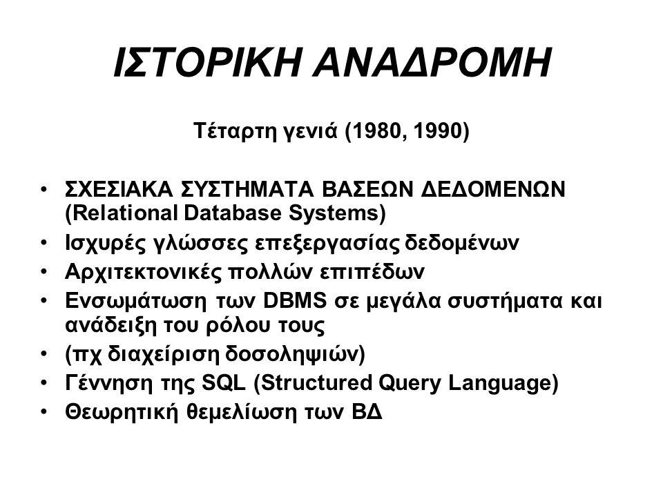 ΙΣΤΟΡΙΚΗ ΑΝΑΔΡΟΜΗ Τέταρτη γενιά (1980, 1990)