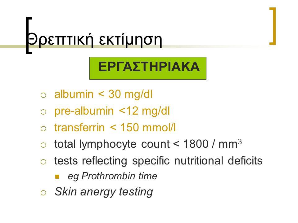 Θρεπτική εκτίμηση ΕΡΓΑΣΤΗΡΙΑΚΑ albumin < 30 mg/dl