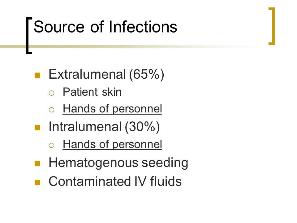 Source of Infections Extralumenal (65%) Intralumenal (30%)