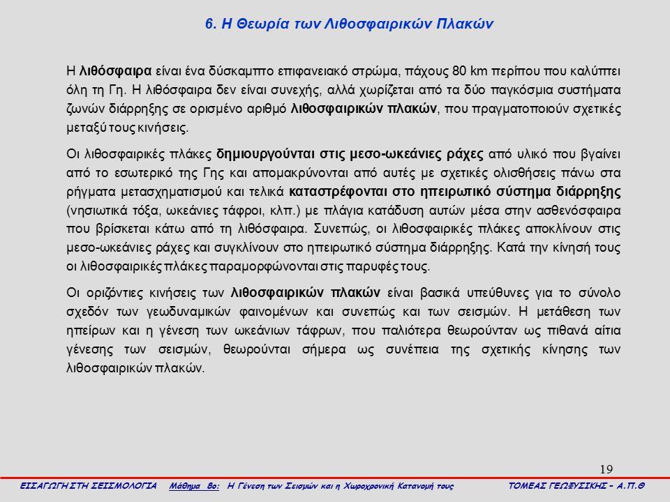 6. Η Θεωρία των Λιθοσφαιρικών Πλακών