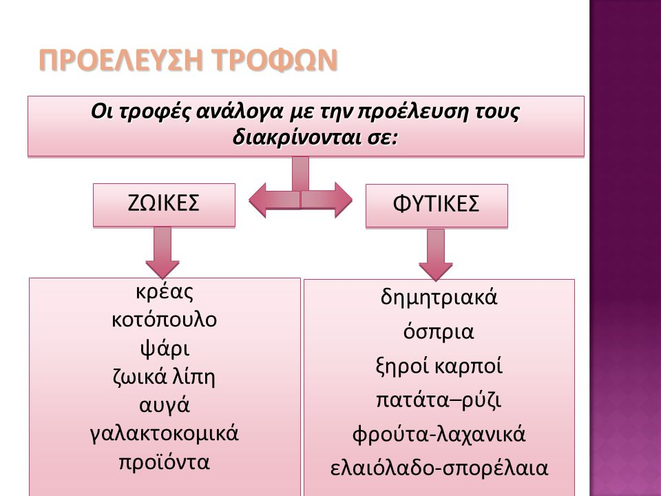 Οι τροφές ανάλογα με την προέλευση τους διακρίνονται σε: