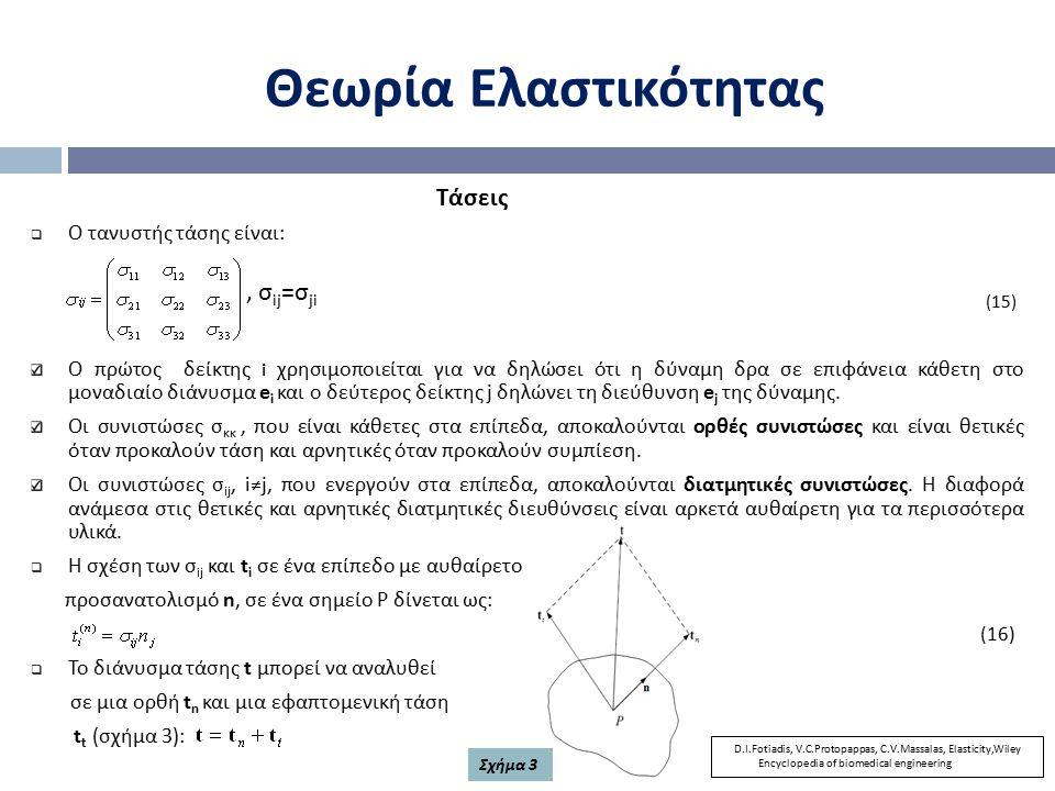 Θεωρία Ελαστικότητας , σij=σji Τάσεις Ο τανυστής τάσης είναι: (15)