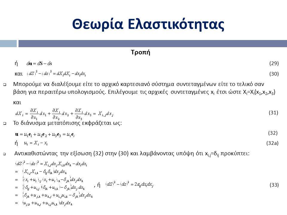 Θεωρία Ελαστικότητας Τροπή ή (29) και (30)
