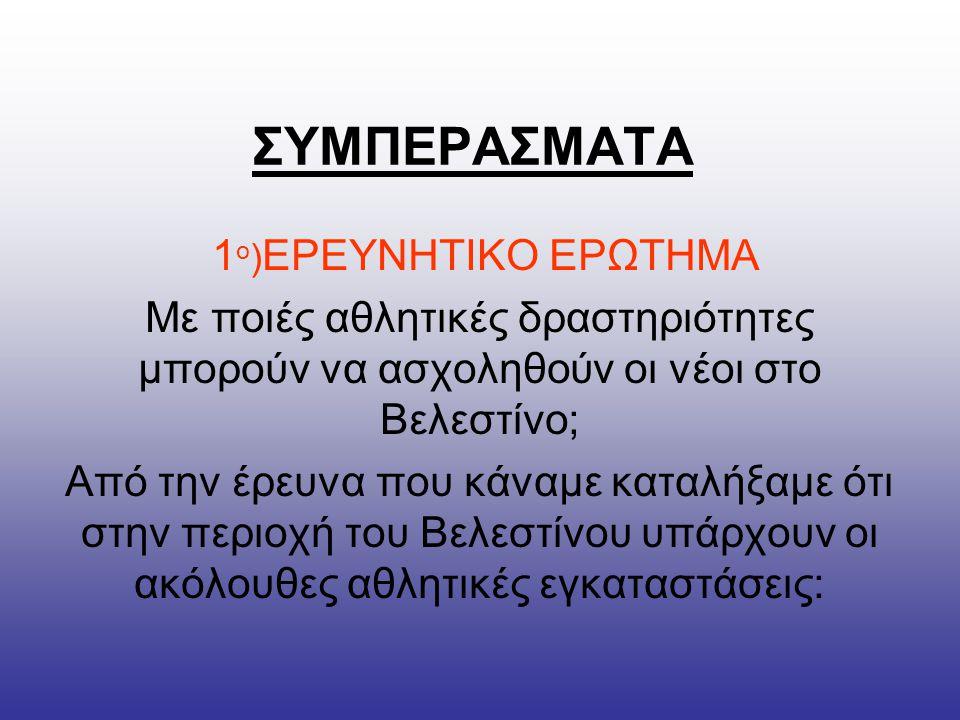 ΣΥΜΠΕΡΑΣΜΑΤΑ 1ο)ΕΡΕΥΝΗΤΙΚΟ ΕΡΩΤΗΜΑ