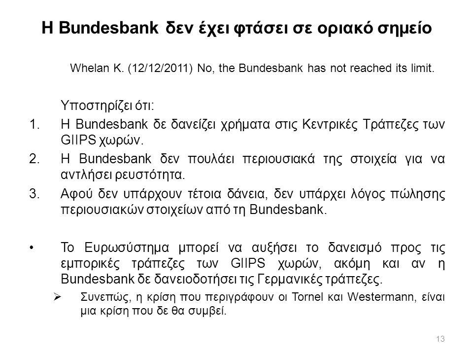 Η Bundesbank δεν έχει φτάσει σε οριακό σημείο