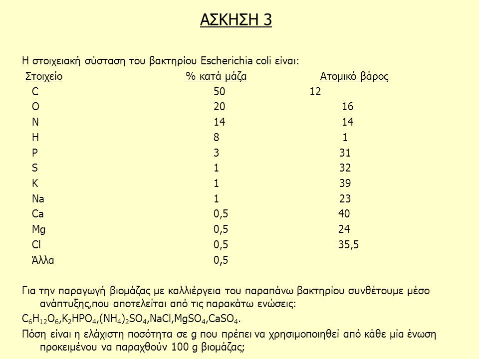 ΑΣΚΗΣΗ 3 Η στοιχειακή σύσταση του βακτηρίου Escherichia coli είναι: