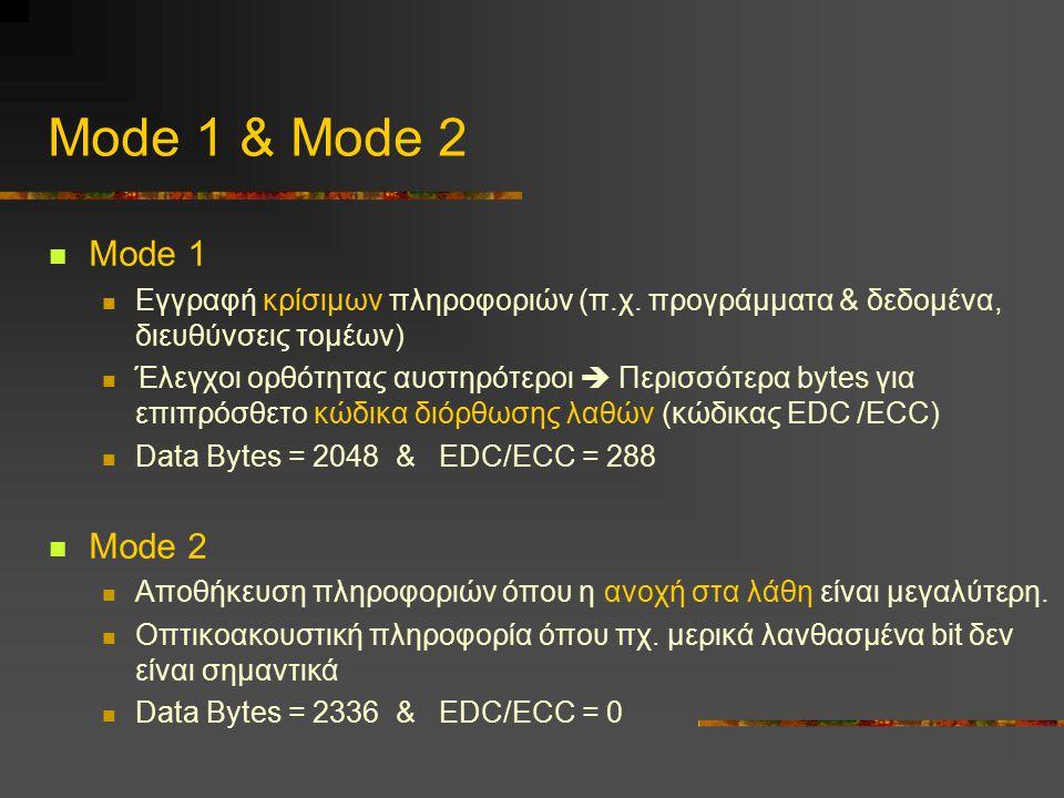 Mode 1 & Mode 2 Mode 1. Eγγραφή κρίσιμων πληροφοριών (π.χ. προγράμματα & δεδομένα, διευθύνσεις τομέων)