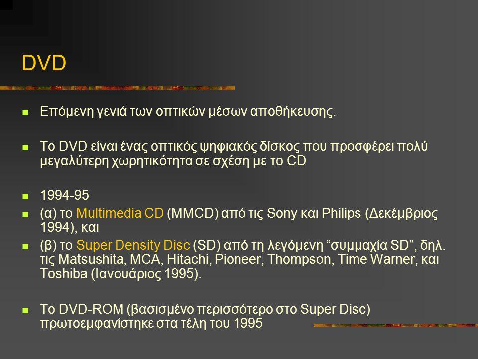 DVD Eπόμενη γενιά των οπτικών μέσων αποθήκευσης.