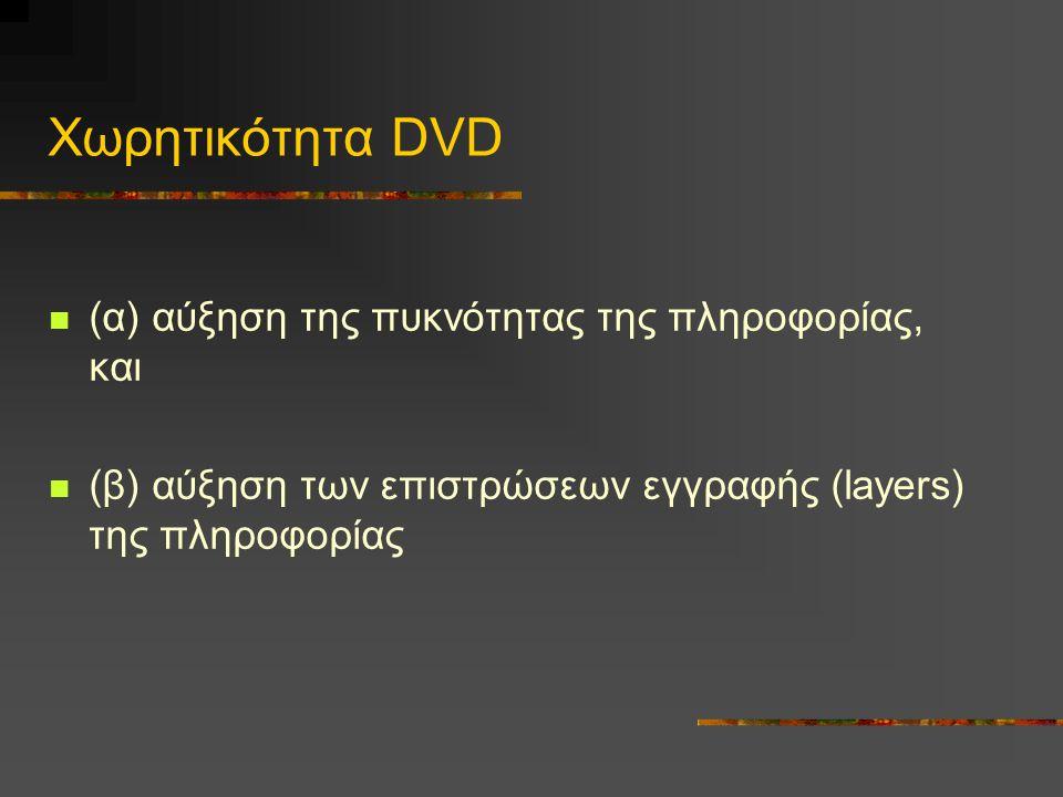 Χωρητικότητα DVD (α) αύξηση της πυκνότητας της πληροφορίας, και