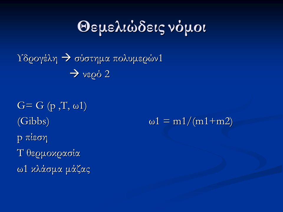 Θεμελιώδεις νόμοι Υδρογέλη  σύστημα πολυμερών1  νερό 2