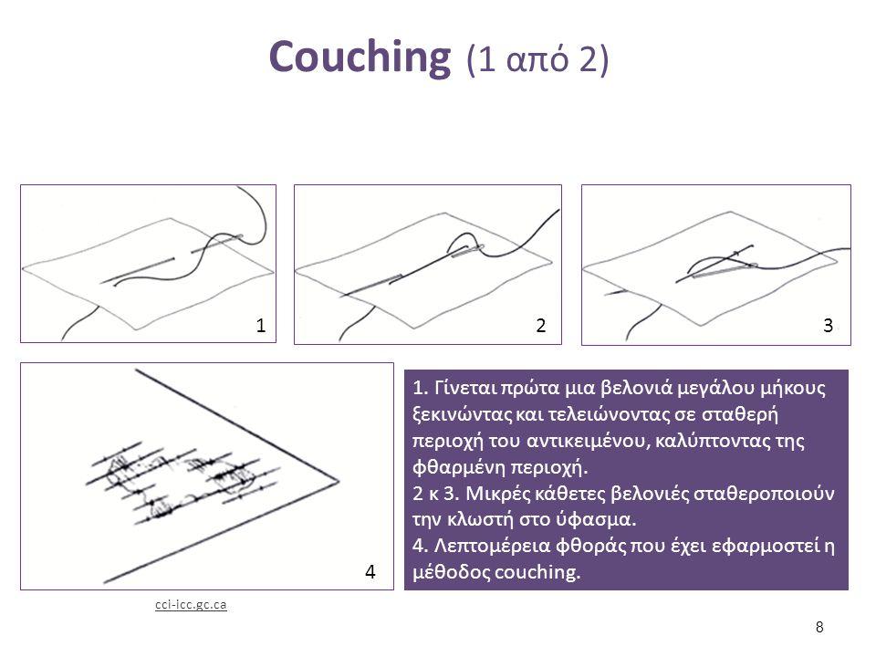 Couching (2 από 2) Άννα Καρατζάνη Λεπτομέρεια αντικειμένου στο οποίο έχει εφαρμοστή η μέθοδος.