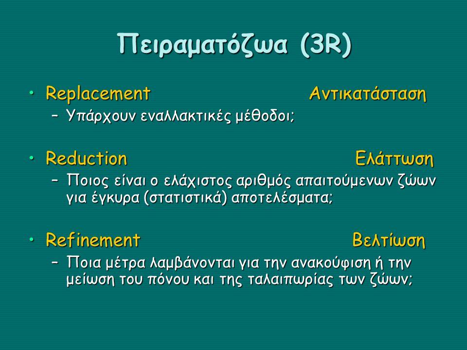 Πειραματόζωα (3R) Replacement Αντικατάσταση Reduction Ελάττωση